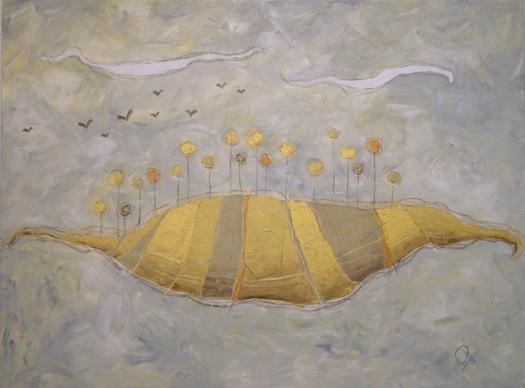 Campo di girasoli - tecnica mista su tela – cm 80 x 60