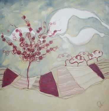 Prunus - tecnica mista su tela, cm 80 x 80
