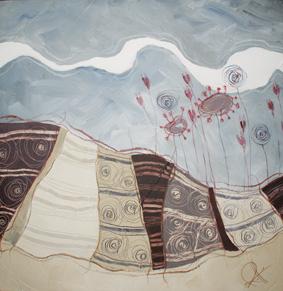 Millefiori di campo - tecnica mista su tela, cm 60 x 60
