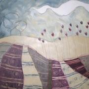 Violetta e i pensieri - tecnica mista su tela, cm 60 x 60