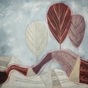 All'ombra dei pioppi - tecnica mista su tela, cm 60 x 60
