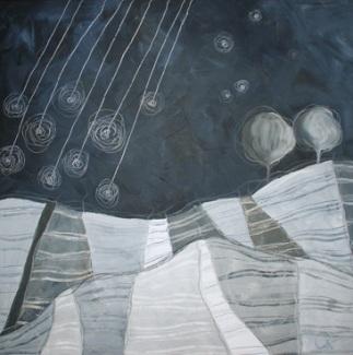 La notte di San Lorenzo - tecnica mista su tela, cm 100 x 100