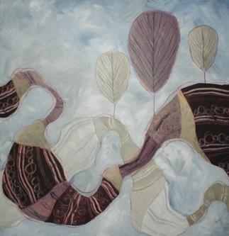 La veste dorata dell'autunno - tecnica mista su tela, cm 100 x 100