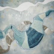 Leggendo fiabe alle stelle - tecnica mista su tela, cm 80 x 80
