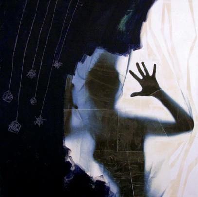 Il giorno che scelse la notte - tecnica mista su tela, cm 100 x 100