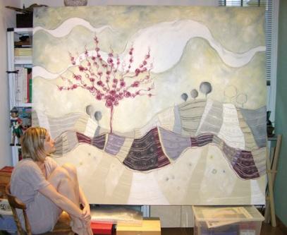 Le colline di seta - tecnica mista su tela, cm 200 x 177