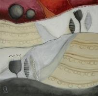 COLLINE ROSSE, COLLINE BLU – tecnica mista su tela, cm 60 x 60