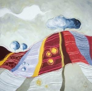 ANCHE TU SEI COLLINA - tecnica mista su tela, cm 80 x 80