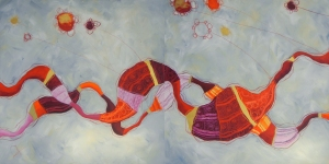RACCONTI FLUTTUANTI DEL GIARDINO ROSSO - tecnica mista su tela, cm 160 x 80 (dittico)