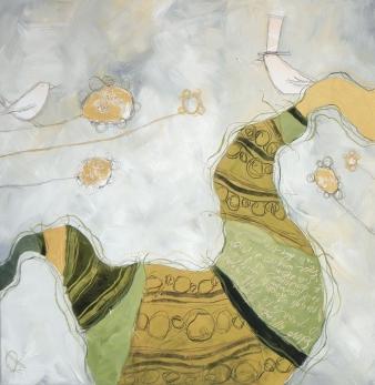 IL GIARDINO A SORPRESA - tecnica mista su tela, cm 80 x 80