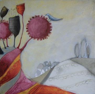 IL GIARDINO DELLA FELICITÀ – tecnica mista su tela, cm 60 x 60