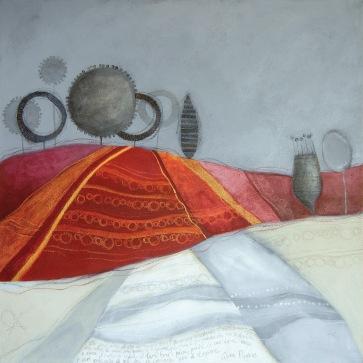 UN GIRO DI STAGIONE – tecnica mista su tela, cm 80 x 80