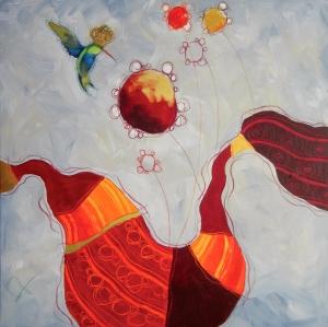 IL GUERRIERO DEL SOLE - tecnica mista su tela, cm 80 x 80