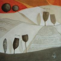 LA VESTE DORATA DELL'AUTUNNO – tecnica mista su tela, cm 60 x 60