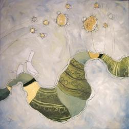 LE CAMOMILLE - tecnica mista su tela, cm 80 x 80