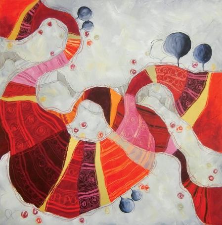 RINCORRERSI DI VITE - tecnica mista su tela, cm 100 x 100