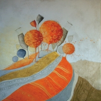 FOLIAGE – tecnica mista su tela, cm 100 x 100