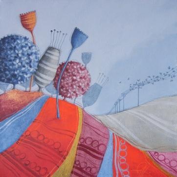 DIALOGHI SULLE NUVOLE – tecnica mista su tela, cm 60 x 60