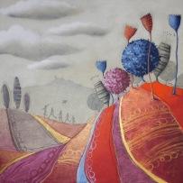 I GIOCHI DEL VENTO (POMERIGGIO ALLE CESANE) – tecnica mista su tela, cm 80 x 80