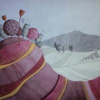 I RICORDI APPESI AL VENTO – tecnica mista su tela, cm 100 x 100