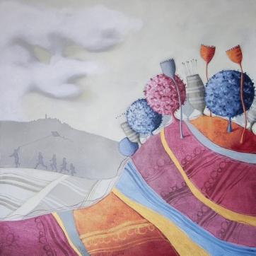 I GIOCHI DEL VENTO – tecnica mista su tela, cm 100 x 100