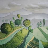 LA STRADA ROMANTICA – tecnica mista su tela, cm 80 x 80