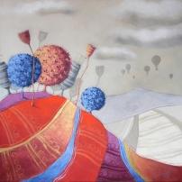 LO STESSO INCANTO – tecnica mista su tela, cm 100 x 100