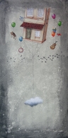 LA DIMORA DEL SOGNATORE - tecnica mista su tela, cm 40 x 80