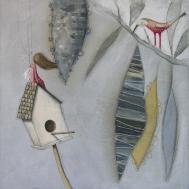 MESSER LILLOBECCO E LA BAMBINA CHE VOLEVA VOLARE - tecnica mista su tela, cm 60x 60