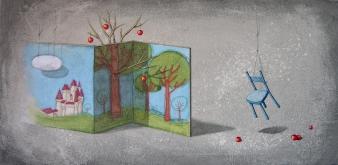 SCENOGRAFIA DI UN SOGNO - tecnica mista su tela, cm 80 x 40
