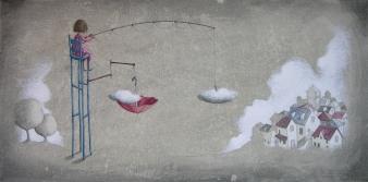 STORIA ALLEGRA DI UN PAESE INVENTATO - tecnica mista su tela, cm 80 x 40