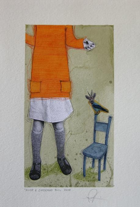 ALICE E L'UCCERVO BLU - acquerello, collage, pastelli