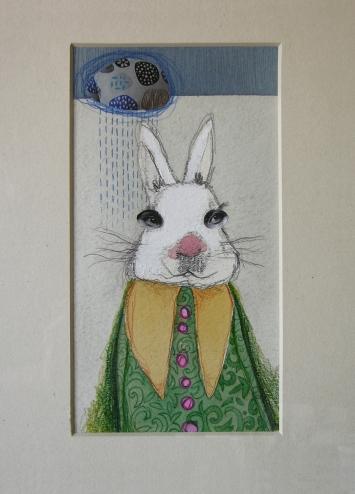 BIANCONIGLIO - acquerello, collage, pastelli