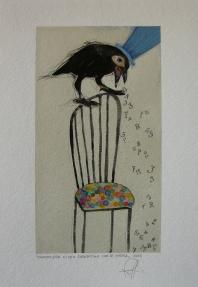 CHIACCHIERA DI UNA CORNACCHIA CON SE STESSA - acquerello, collage, pastelli