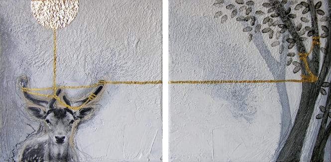 IN THE GOLDEN AFTERNOON - tecnica mista su tela, cm 20 x 20 (dittico)