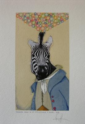 PENSIERI BOLLA DI UN INTELLETTUALE A RIGHE - acquerello, collage, pastelli