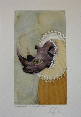 RINOCEVIMENTO IN MASCHERA - acquerello, collage, pastelli