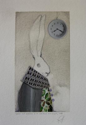 SOGNO ALLA ROVESCIA DI UN CONIGLIO CON GILET - acquerello, collage, pastelli