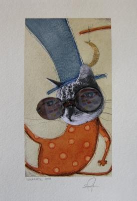 STREGATTO - acquerello, collage, pastelli