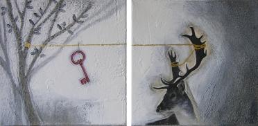 THE DEER'S TALE - tecnica mista su tela, cm 20 x 20 (dittico)